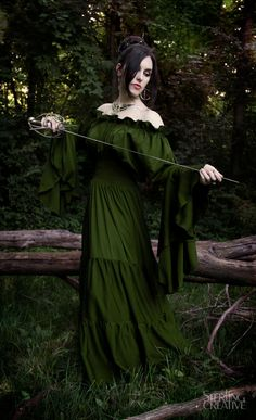 Renaissance Medieval Costume Mythic Mystic Forest Sword Mistress Chemise Dress  Olive