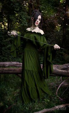 Renaissance Medieval Costume Mythic Mystic Forest Sword Mistress Chemise Dress  Olive