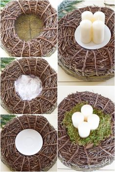 Advent wreath ideas DIY yourself: of course quickly made. Advent wreaths from nature. Decoration ideas Christmas table decorations Advent wreaths step by step instructions Homemade Advent Wreath, Diy Wreath, Wreath Ideas, Advent Wreaths, Fete Halloween, Deco Floral, Christmas Table Decorations, Natural Make Up, Greenery