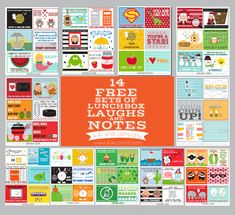 14 Free Sets of Lunchbox Laughs and Notes! {Free download} Perfect for lunches for your kiddos or spouse.