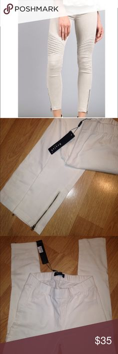 """NWT Cream Moto Leggings w/ zippered ankles Brand new and still in original packaging. These are boutique brand and run small. Size is large but recommended for a medium. Elasticized waist. 97/3 cotton/elastic. Waist flat is approx 13"""" unstretched. Material is lightweight and not heavy. Full zipper details on both ankles. Boutique Pants Leggings"""