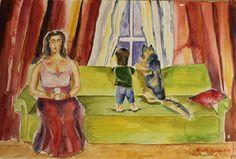 Buy Waiting, Watercolor by Geeta Biswas on Artfinder. #waiting #familyreunion #family #dog #baby #woman #watercolor #painting #aquarelle #contemporaryart #emergingartist #geetabiswas #under$250 #originalart