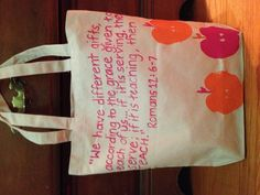 Apple (real) stamped tote with bible verse about teaching great Teacher Appreciation gift Teacher Bible Verse, Verses For Teachers, Teacher Appreciation Quotes, Teacher Quotes, Christian Teacher Gifts, Sunday School Teacher, School Days, School Stuff, Volunteer Gifts
