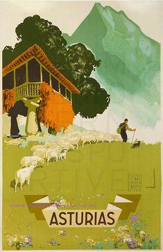 Travel Poster for Asturias, Spain Art Print Retro Poster, Poster Ads, Poster Vintage, Poster City, Vintage Travel Posters, Vintage Ads, Tourism Poster, Travel Ads, Kunst Poster
