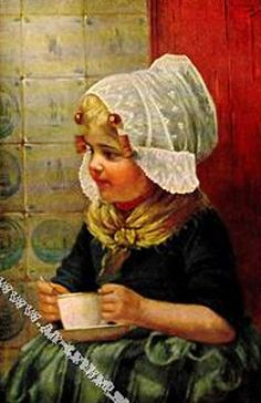"""Young Dutch Girl with a Cup"" by Edmond Louyot (1861-1920, French)"
