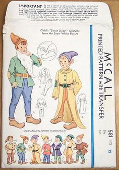 Vintage Thirties Disney Seven Dwarfs McCall Pattern - Click Image to Close