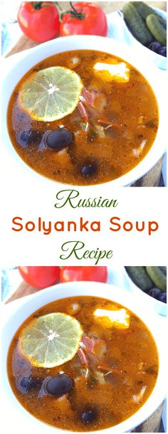 Hearty, delicious and super rich in flavor, this Russian solyanka recipe is a meat lover's dream come true. Hearty, delicious and super rich in flavors, this Russian Solyanka recipe is a meat lover's dream come true. The soup is perfect for cold winter mo Soup Recipes, Chicken Recipes, Dinner Recipes, Cooking Recipes, Curry Recipes, Chicken Bacon, Recipies, Russian Dishes, Russian Recipes