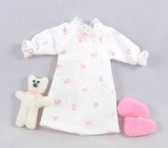 Toys: Doll Nightgown Slippers and Mini Teddy Bear