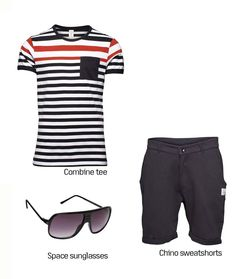 """The shorts will NOT be """"sweatshorts"""" but I do like the outfit. There's a shirt very similar to that one at Old Navy"""