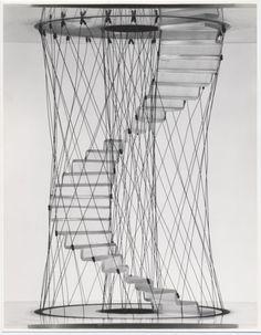 Pio Manzù, design studies ofstairs, 1968