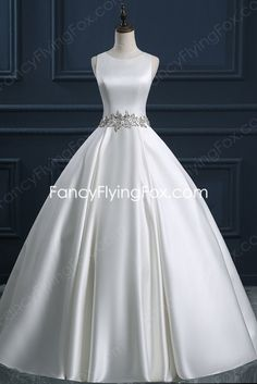 fancyflyingfox.com Offers High Quality Scoop Neckline Satin Ball Gown Wedding Dress With Beaded Decoration ,Priced At Only US$245.00 (Free Shipping)