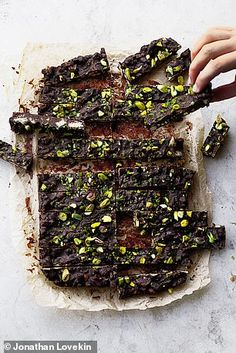 Yotam Ottolenghi's mint and pistachio chocolate fridge cake Yotam Ottolenghi, Ottolenghi Recipes, Chocolate Fridge Cake, Chocolate Desserts, Mint Chocolate, Delicious Desserts, Dessert Recipes, Yummy Food, Cake Recipes