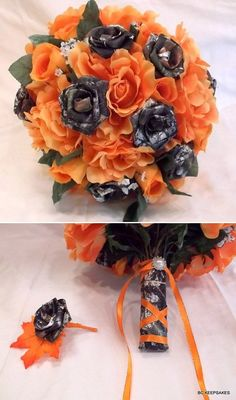 fall camo and orange wedding bouquests and groom boutonniere
