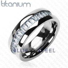PIN IT TO WIN IT! Titanium Square: Titanium Square is impeccable ,solid titanium with square CZ stone band ring, The design showcases your strength and durability, Always strong, that's you, so why not show it off with this intense Titanium Square ring.  $89.99  www.buybluesteel.com