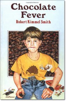 """Chocolate Fever by Robert Kimmel Smith: For 3rd through 5th Grade   Chocolate Fever is the story of a young boy who eats chocolate for breakfast, lunch and dinner yet it never harms him. At least not until one day when strange things start happening. It's a good book for """"text to life"""" discussions. It provides lots of lead in to """"What would you do?""""   ~ Recommended by Diane Patterson for Literature Circles"""