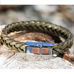 Beige Green Braided Leather Bracelet with a Sliding Magnetic Clasp