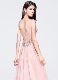 A-Line/Princess V-neck Floor-Length Chiffon Prom Dress With Ruffle Beading Sequins (018070387)