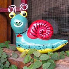 Hand Painted Terracotta Snail Garden Accessories, Snail, Terracotta, Sunshine, Hand Painted, Rustic, Snails, Country Primitive, Nikko