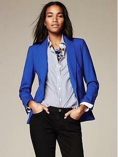 Cobalt Lightweight Wool One-Button Blazer