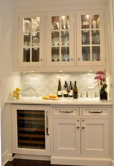 Beverage center with cabinet trim under island