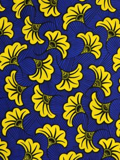 Yellow Wedding Flowers, Yellow Flowers, African Fabric, African Prints, African Patterns, Motif Art Deco, Wedding Fabric, Flower Patterns, Fabric Flowers