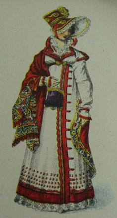 this dress shows how fashion in the romantic period became more embellished. the bonnet is also very reminiscent of the fashion at the time