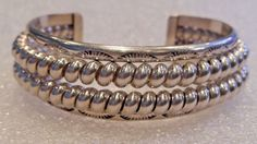 BOLD! Sterling Silver Double Row Southwest Etched Cuff Bracelet  #Unbranded #Cuff