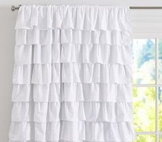 Ruffle Blackout Panel #PotteryBarnKids. Eeeek! Love these. thinking I would replace her closet doors and put these in their place??? so girly and fabulous!