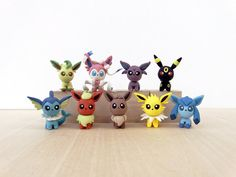 Eeveelution Handmade Polymer Clay Sculpture Pokemon by Lyrese