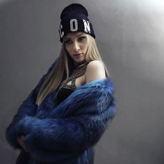 http://www.cristinamusacchio.com/index.php/71-oh-my-blue  Faux fur coat by @bazaar_a_porter | @thisisalovesong logo bondage bra | @theshoplowcost hat