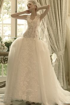 st pucchi 2014 2015 elle dropped waist ball gown wedding dress front view