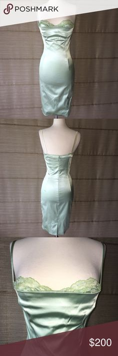 🔥D&G mint green pencil dress w bra lace trim 🔥Dolce & Gabbana mint green pencil dress w bra lace trim. Straps are 2 tone color (pics). Sexy! Excellent condition! Size 42 Italian Dolce & Gabbana Dresses Midi