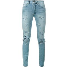 SAINT LAURENT Distressed Skinny Jeans ($740) ❤ liked on Polyvore featuring jeans, mid-rise jeans, destroyed jeans, mid rise skinny jeans, slim fit jeans and blue jeans