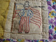 Antique Hand Sewn Quilt With Embroidery