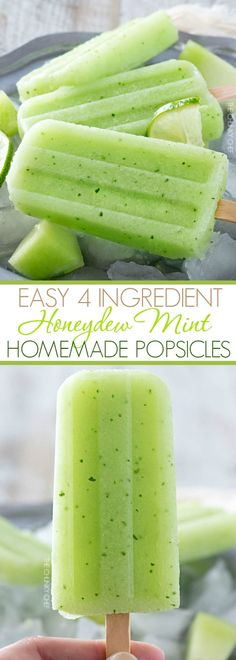 4 Ingredient Honeydew Mint Homemade Popsicles The refreshing taste of sweet honeydew melon and fresh mint will make these easy 4 ingredient homemade popsicles an instant favorite! Mint Recipes, Ice Cream Recipes, Summer Recipes, Necterine Recipes, Melon Recipes, Chard Recipes, Frozen Desserts, Frozen Treats, Yogurt Popsicles