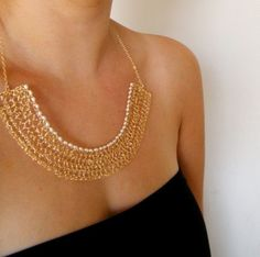 Nile Necklace Crochet Gold Filled Wire and Pearls by galit on Etsy - Stylehive