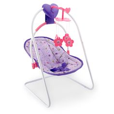 Rock your little baby doll to sleep with the You & Me Musical Doll Swing. This exclusive set plays a sweet lullaby to lull your baby to sleep at the push of a button. Removable swing seat makes it easy for you to take baby on the go. Grab this adorable little swing today! Great for ages 3 and up.<br><br>Product Features:<br><br><ul><li>Cute little pink, purple and white baby doll swing </li><br><li>Detachable swing seat to carry around your You & Me baby doll</li><br><li>Musical feature…