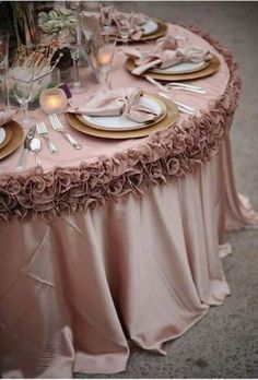 Rose Gold Wedding Reception Decor - Wedding Party & Reception Table Linen & Chair Decorations by Kmpassion Wedding Reception Chairs, Wedding Table Linens, Wedding Table Settings, Reception Decorations, Reception Ideas, Wedding Centerpieces, Wedding Table Covers, Pink Table Settings, Wedding Tablecloths