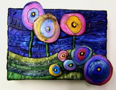 a Mused Studio: Polymer Clay on Stretched Canvas- May Storm Polymer Clay Painting, Polymer Clay Kunst, Polymer Clay Miniatures, Fimo Clay, Polymer Clay Creations, Polymer Clay Beads, Clay Projects, Clay Crafts, Art Textile