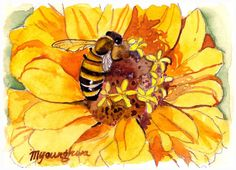 ACEO Limited Edition  Beeing and Yellow in by annalee377 on Etsy