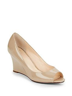 Kenzie Patent Leather Peep-Toe Wedge. This is a good versatile nude shoe that is a bit more Spring/Summer with the open toe