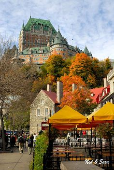 View up the hill to Chateau Frontenac in Old Quebec, Canada