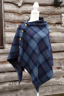 Harriet Hoot Harris Tweed Navy Check Cape
