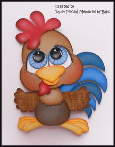Rooster Premade Paper Piecing Embellishment Die Cut by Babs #rooster #scrapbook #embellishment