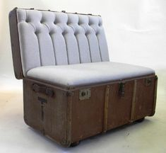 repurpose old wooden chairs   suitcase chair repurposed furniture trunk going green furniture ...