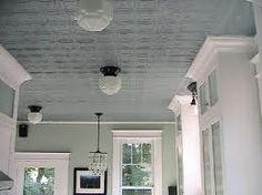 tin ceiling wallpaper with semigloss paint and barn light electric or schoolhouse electric light fixtures