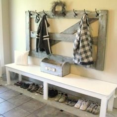 unique benches for foyer | Storage and Organization Ideas / I love this look for the entrance