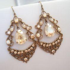 Vintage chandelier earrings, bridal earrings, wedding jewelry, antique brass earrings, rhinestone earrings, Swarovski crystal earrings