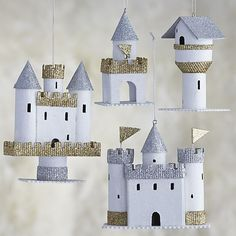 Set of 4 Paper Castle Ornaments in Outlet Christmas Ornaments | Crate and Barrel