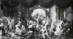 ''The two ways of life'' 1857. Fotografia manipulada por Rejlander, com o total de 32 imagens negativas separadas, que depois meticulosamente, foram expostas numa impressão de prata de albumina, para no final originar uma montagem. Muito rapidamente aperfeiçoaram esta técnica e começaram a manipular fotografias.
